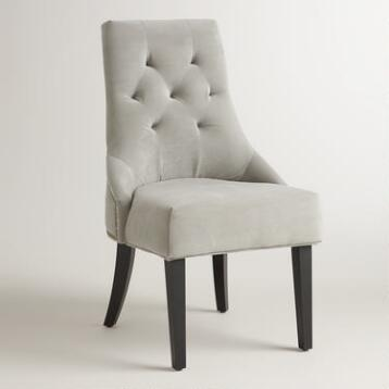 Dove Gray Tufted Lydia Dining Chairs, Set of 2